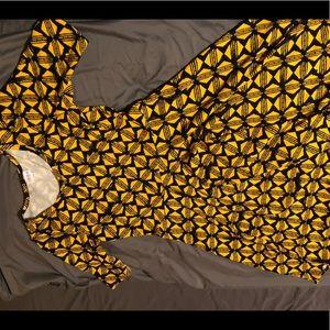 LuLaRoe Nicole Dress with yellow hexagon design